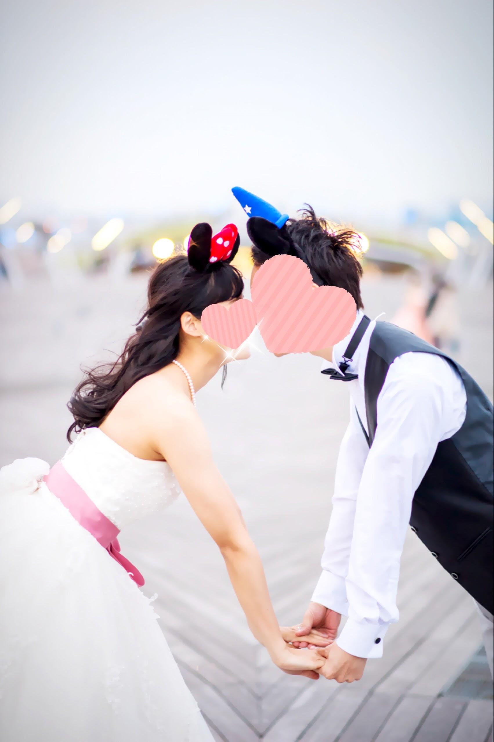 ひよこ夫婦-ミッキー・ミニーカチューシャとウェディングドレス・タキシードで前撮り