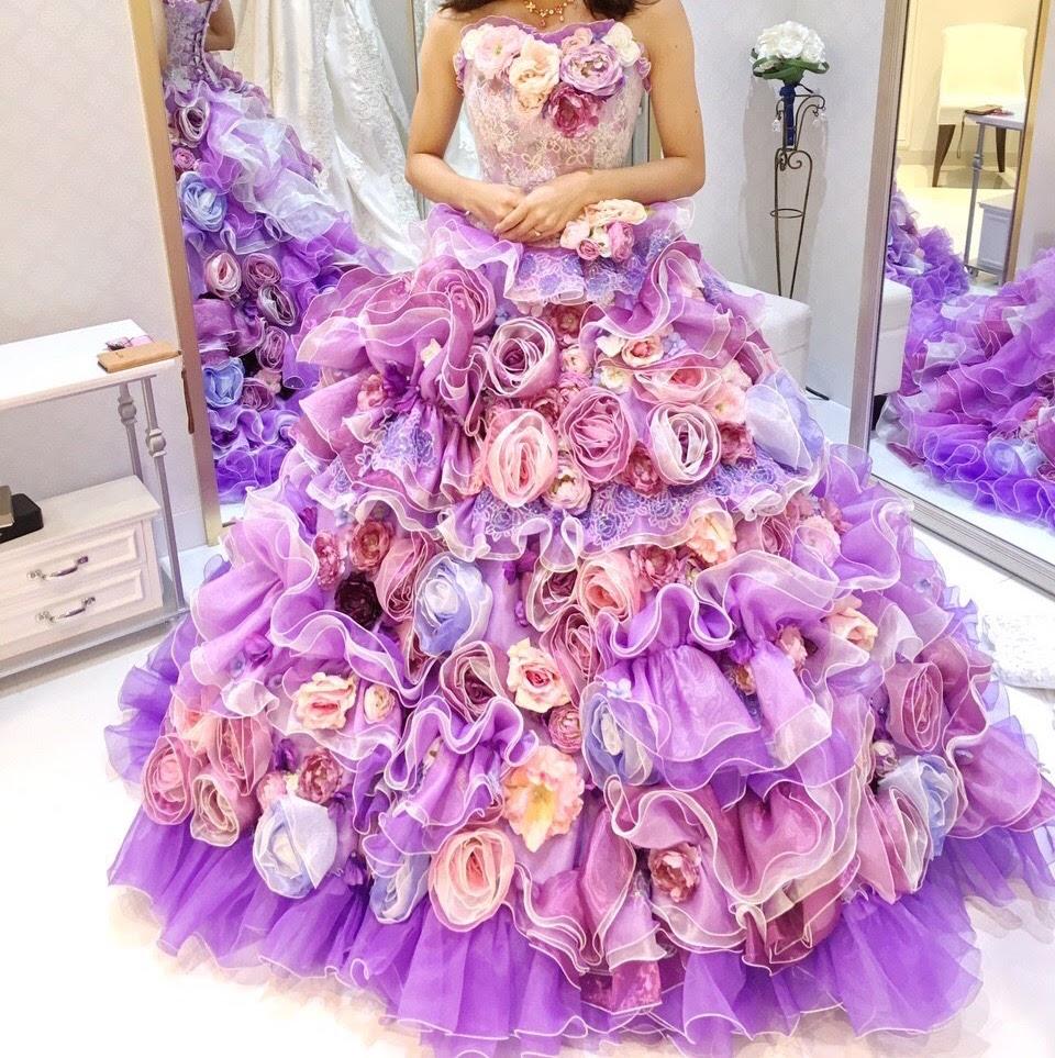 タカミブライダルのカラードレス、ラベンダーアニー