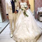 タカミブライダルのウェディングドレス・アマレッティとタキシード・ブランバトー