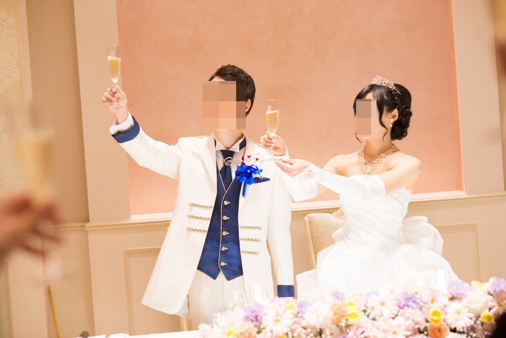 アニヴェルセルみなとみらい横浜 結婚式レポブログ ヴィラスウィートでの披露宴 乾杯、高砂記念撮影
