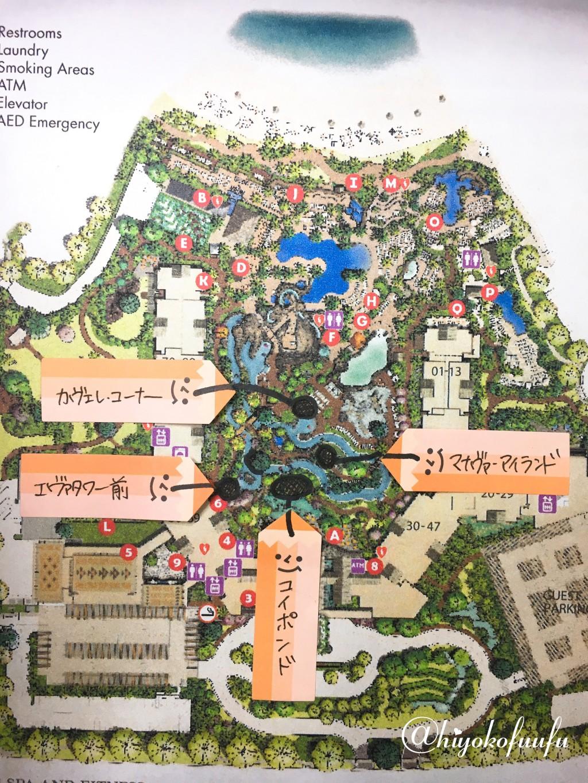 アウラニディズニーのキャラクターグリーティングの場所の地図